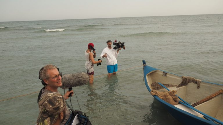 DOP Sebstian Hattop and 1.AC Thomas Wozny filming Patagonia at the Black Sea, Romania