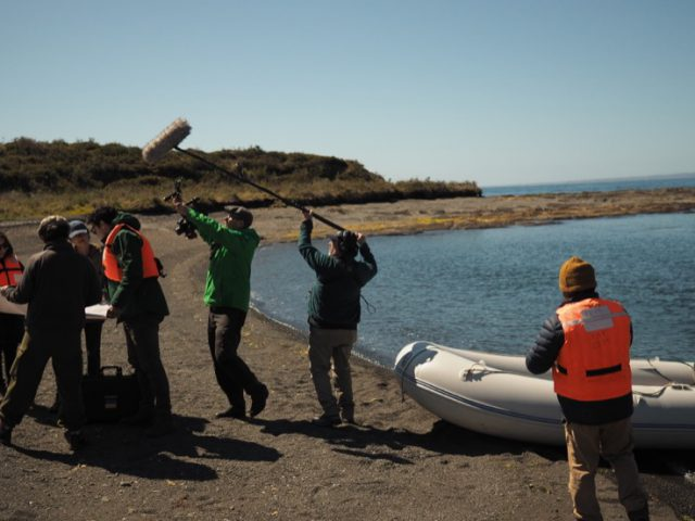 Filmcrew at the archaeological site of the first Spanish settlement in Patagonia