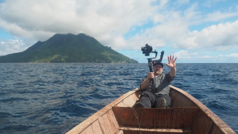 DOP Sebastian Hattop filming the Spice Islands