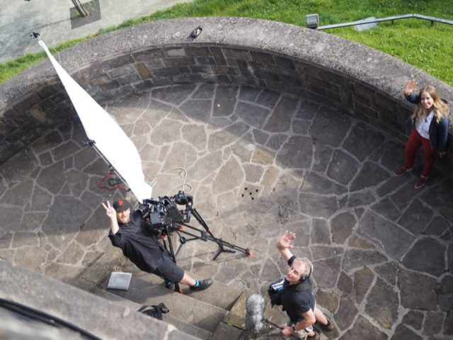 DOB Sebastian Hattop and sound man Björn Gelderman setting up an interview in Basque country